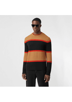 Burberry Striped Wool Cashmere Sweater, Black
