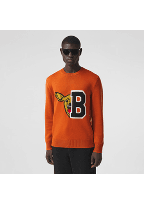 Burberry Varsity Graphic Merino Wool Jacquard Sweater, Orange