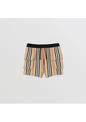 Burberry Childrens Icon Stripe Cotton Drawcord Shorts, Beige