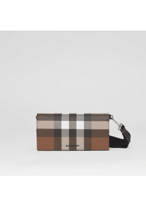 Burberry Check E-canvas Wallet with Detachable Strap, Brown