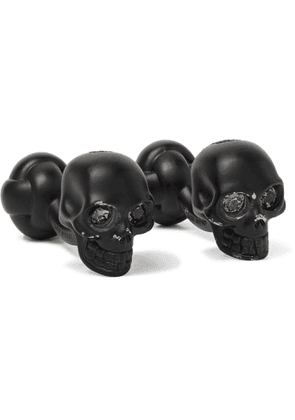 ALEXANDER MCQUEEN - Crystal-Embellished Blackened Brass Cufflinks - Men - Black