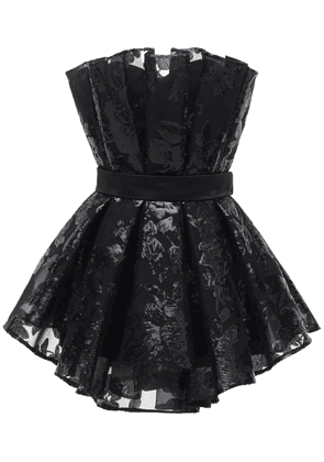 Pleated Sequined Mesh Bustier Romper
