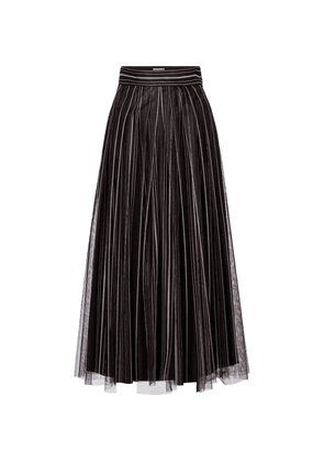 Striped tulle midi skirt
