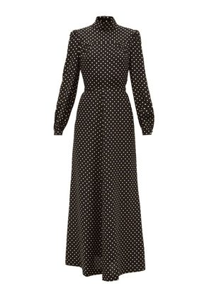Bella Freud - Angelica Polka-dot Silk Midi Dress - Womens - Black