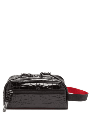Christian Louboutin - Blaster Spike Stud Croc-effect Leather Wash Bag - Mens - Black
