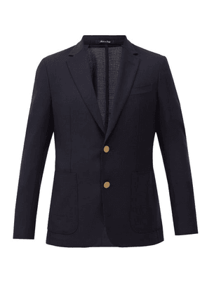 Dunhill - Single-breasted Wool-hopsack Blazer - Mens - Navy