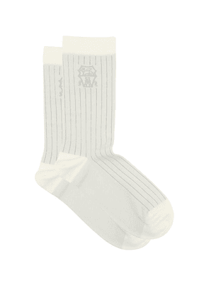Brunello Cucinelli - Logo-jacquard Ribbed Cotton Socks - Mens - Light Grey