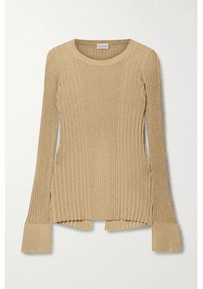 By Malene Birger - Orlia Metallic Ribbed-knit Top - Gold