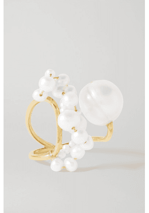 Completedworks - Speaking To The Penguins Gold Vermeil Pearl Ring - White