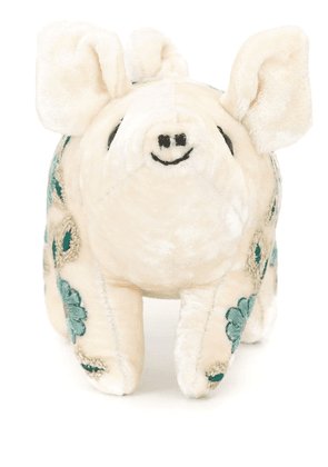 Anke Drechsel embroidered pig soft toy - White