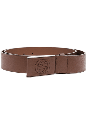 Gucci GG-motif buckle belt - Brown