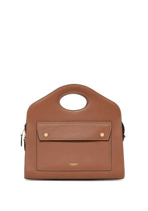 Burberry small leather pocket tote bag - Brown