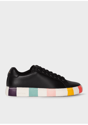 Women's Black Leather 'Lapin' Trainers With Striped Soles