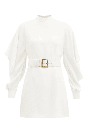 Andrew Gn - Sleeve-slit Belted Satin-twill Mini Dress - Womens - White