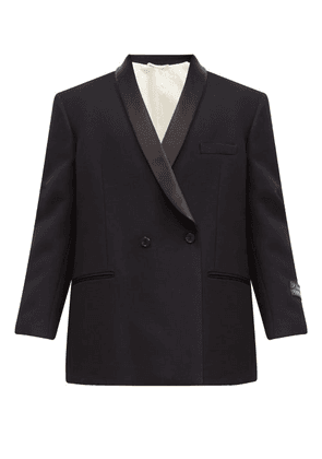 Raf Simons - Double-breasted Satin-lapel Wool Smoking Jacket - Mens - Navy