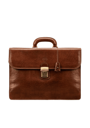 Maxwell Scott Bags Mens Traditional Tan Brown Leather Large 3-section Briefcase