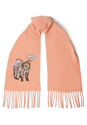 Acne Studios Fringed Embroidered Wool-felt Scarf Woman Peach Size --