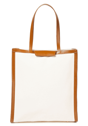 Iris & Ink Jaina Two-tone Leather And Canvas Tote Woman Off-white Size --