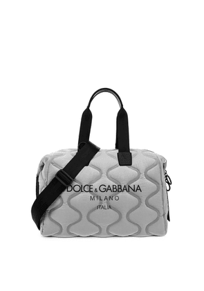 Dolce & Gabbana Palermo Tecnico Grey Quilted Nylon Holdall