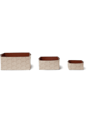Métier - Set of Three Reversible Collapsible Printed Canvas and Leather Boxes - Men - Neutrals