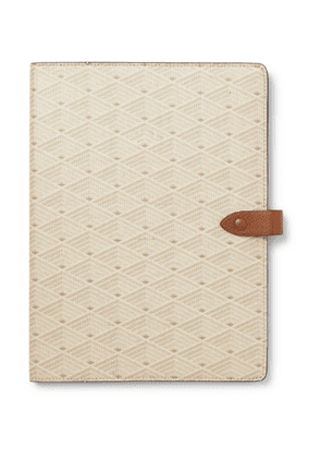 Métier - Leather-Trimmed Printed Canvas Notebook - Men - Neutrals