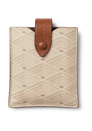 Métier - Leather-Trimmed Printed Canvas Playing Cards Case - Men - Neutrals