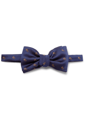 ALEXANDER MCQUEEN - Pre-Tied Skull and Polka-Dot Jacquard Silk-Twill Bow Tie - Men - Blue