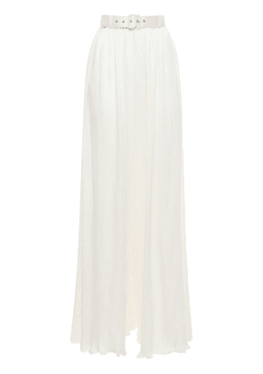Muriel Belted Pleated Satin Pants