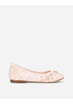 Dolce & Gabbana Shoes (24-38) - LACE BALLET FLATS WITH RHINESTONE DG LOGO PINK female 24