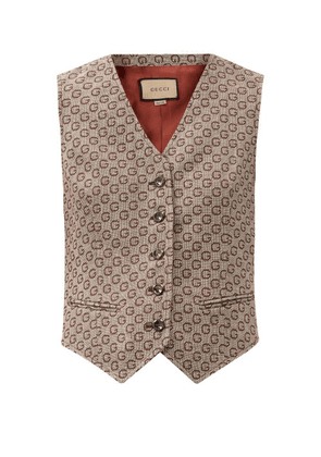 Gucci - G-jacquard Wool Waistcoat - Womens - Brown Multi