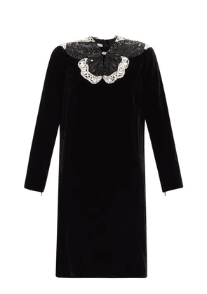 Gucci - Crystal And Sequinned Butterfly Velvet Dress - Womens - Black