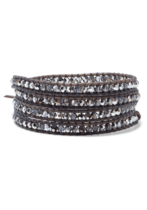 Chan Luu Silver-tone, Leather And Crystal Wrap Bracelet Woman Brown Size --