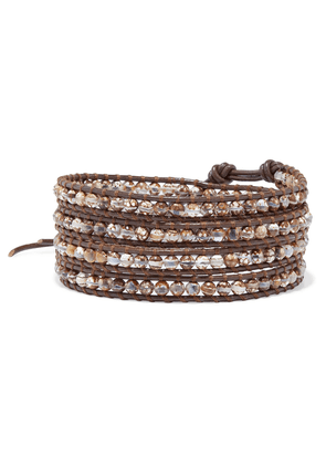 Chan Luu Leather And Silver-tone Multi-stone Wrap Bracelet Woman Brown Size --