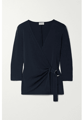 By Malene Birger - Shanelle Stretch-ponte Wrap Top - Navy