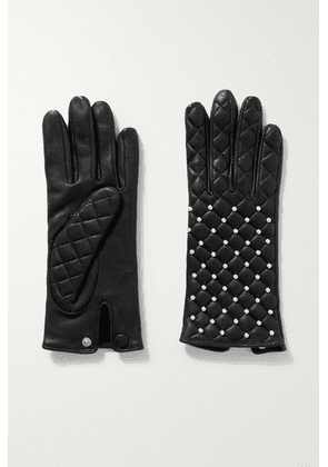 Agnelle - Chloe Faux Pearl-embellished Quilted Leather Gloves - Black