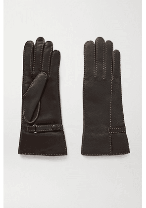 Agnelle - Sharil Topstitched Leather Gloves - Brown