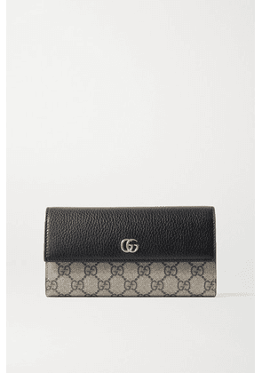 Gucci - + Net Sustain Gg Marmont Petite Textured-leather And Printed Coated-canvas Continental Wallet - Black