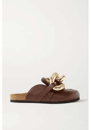 JW Anderson - Chain-embellished Leather Slippers - Dark brown