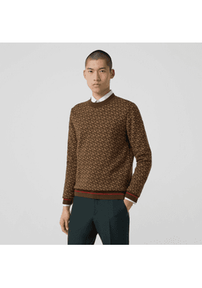 Burberry Monogram Merino Wool Jacquard Sweater, Brown
