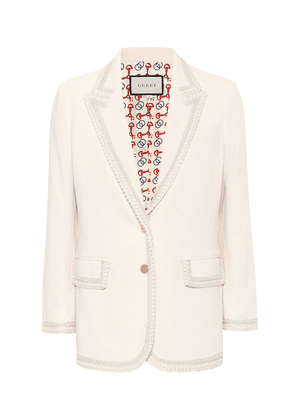 Embroidered cady blazer
