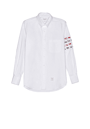 Thom Browne Embroidered Button Down in White - White. Size 4 (also in ).