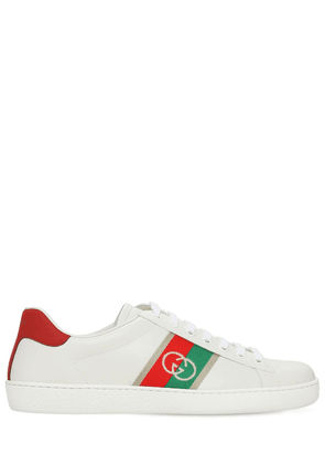 New Ace Gg Web Leather Sneakers