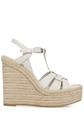 120mm Leather Espadrille Wedges
