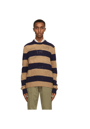 Gucci Beige and Navy Wool Striped GG Sweater