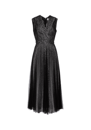 Lace-trimmed glitter tulle midi dress