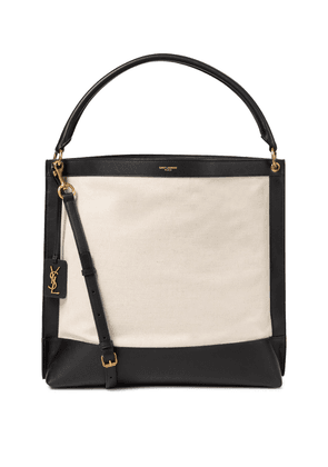 Tag leather-trimmed canvas tote