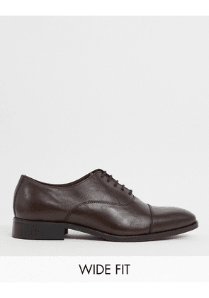 Dune wide fit salter lace up shoes in brown leather