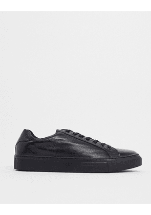 Dune travers trainers in textured black leather