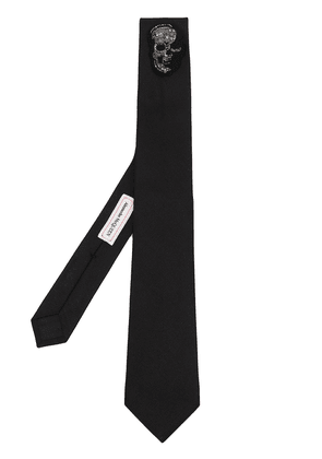 Alexander McQueen skull patch silk tie - Black