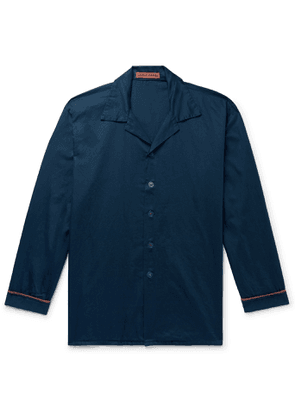 Cleverly Laundry - Piped Garment-Dyed Washed-Cotton Pyjama Shirt - Men - Blue - 1